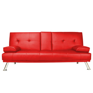 Modern Functional Faux Leather Sofa Bed