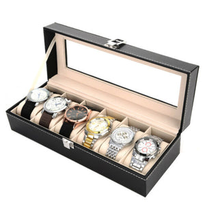 6 Grid Faux Leather Watch Display Case