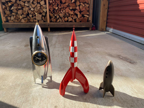 Silver Rocket Clock, Checkered Red-White Rocket, Small Silver Rocket