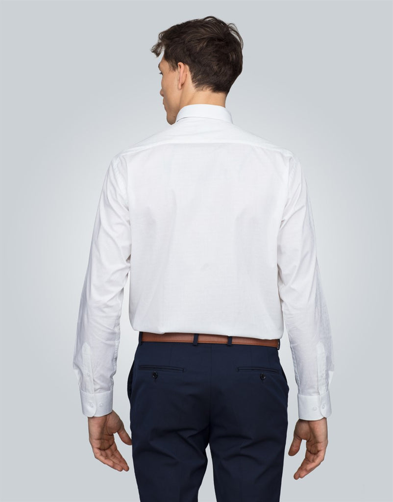 Classic Fit Textured White Men Shirt