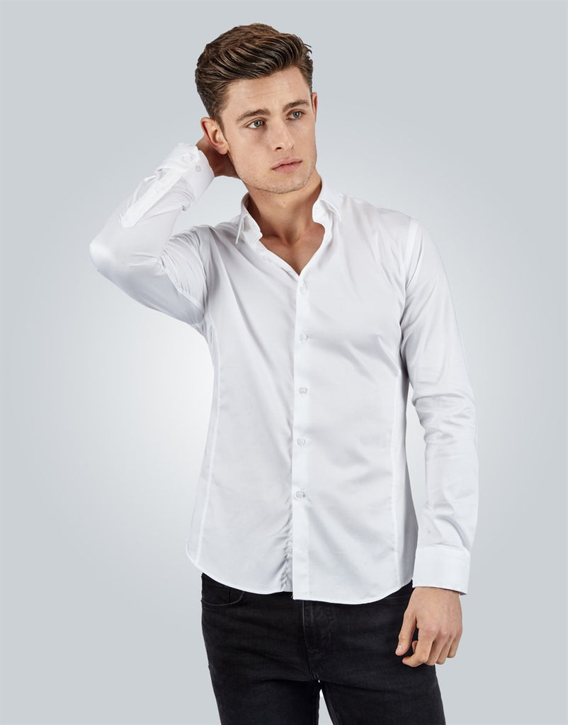 Super Slim Fit Plain White Men Shirt