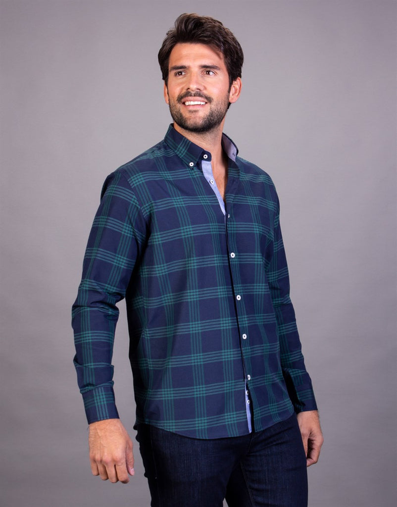 Classic Fit Green Checked Blue Shirt