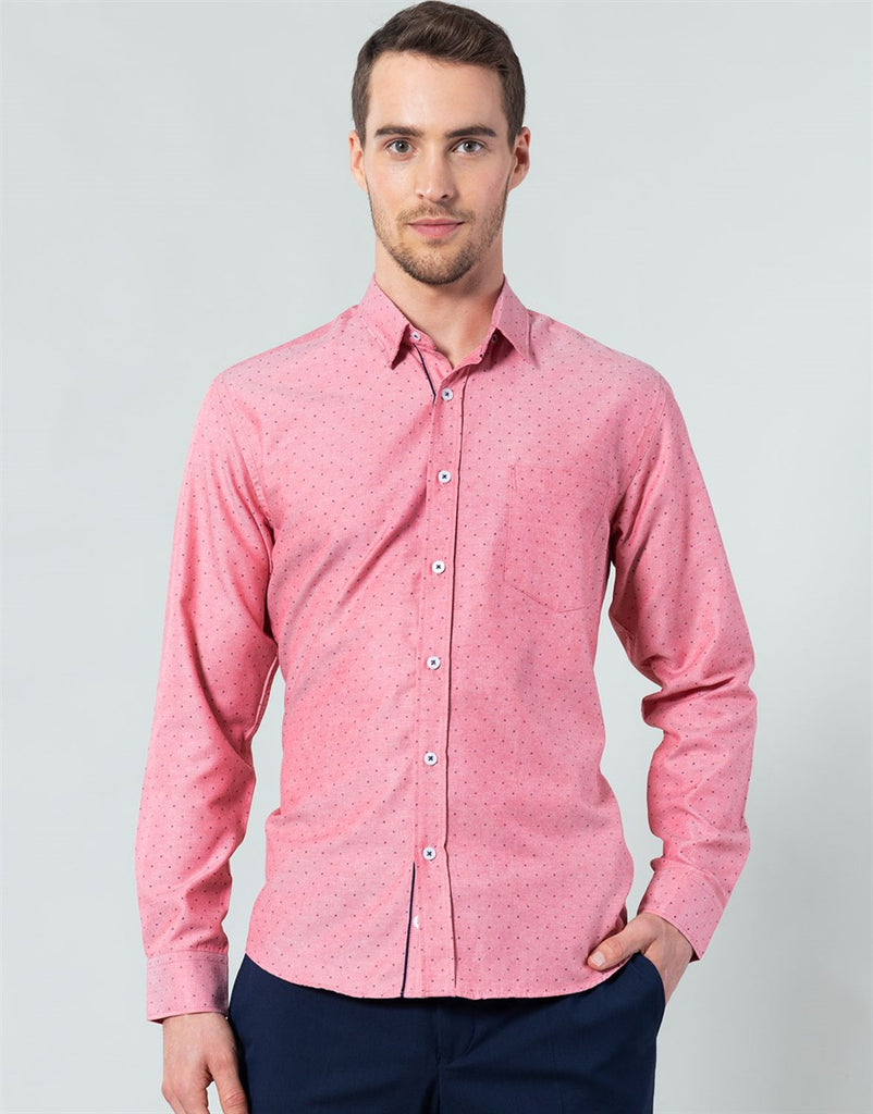 Printed Pink Classic Fit Casual Shirt
