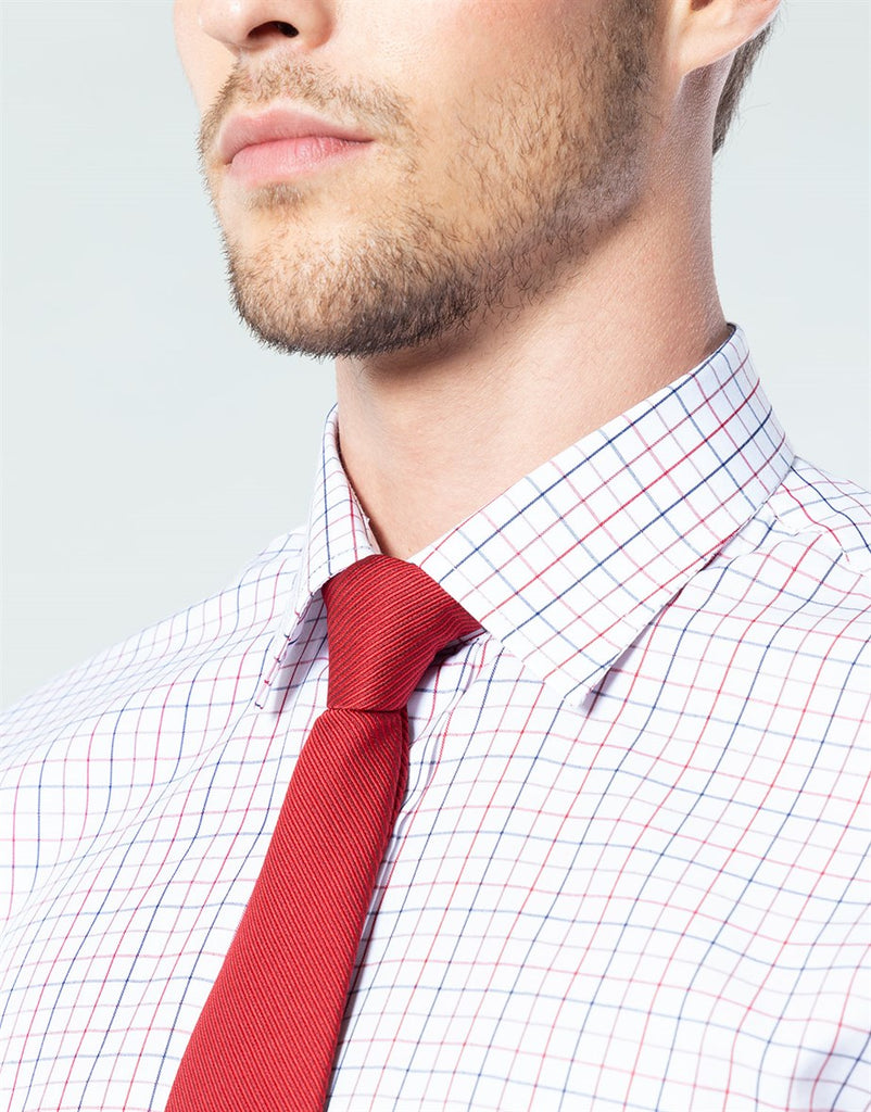 Red & Blue Textured White Classic Fit Shirt