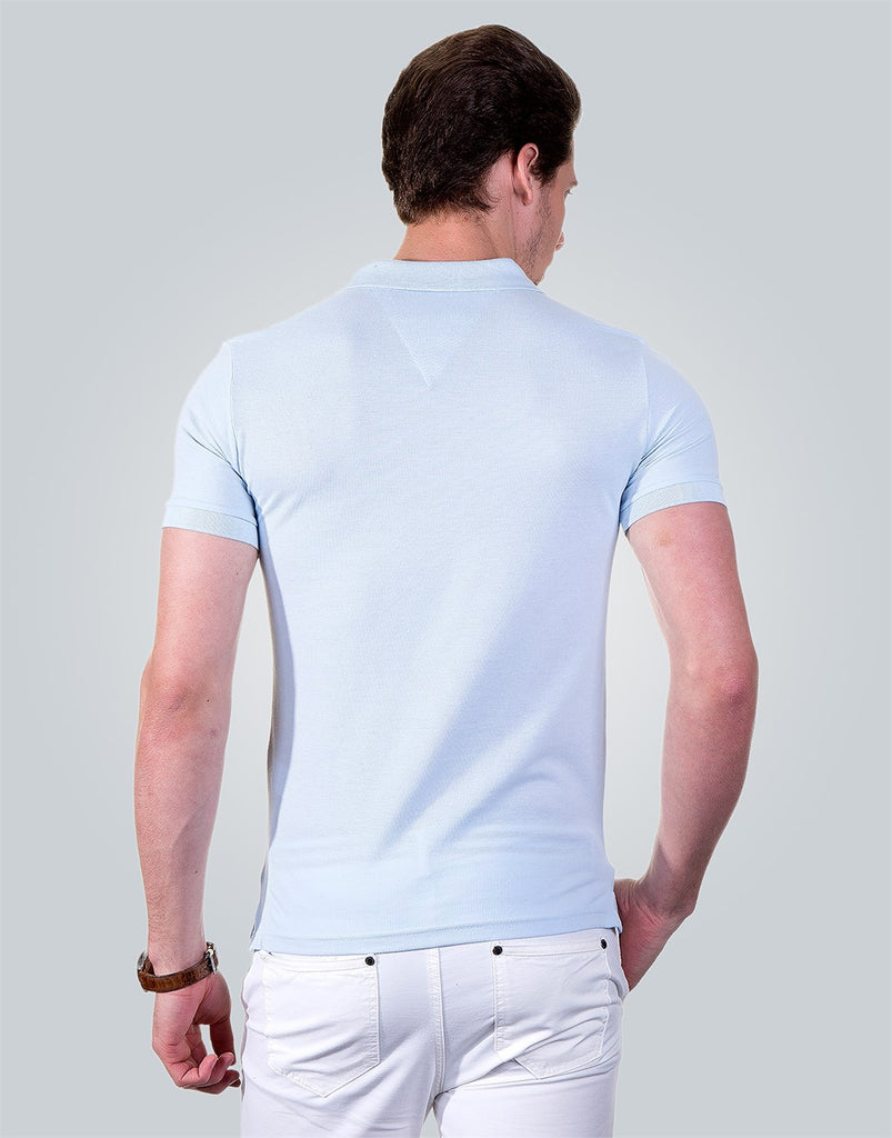 Polo Neck Plain Light Blue Pique Men T-Shirt