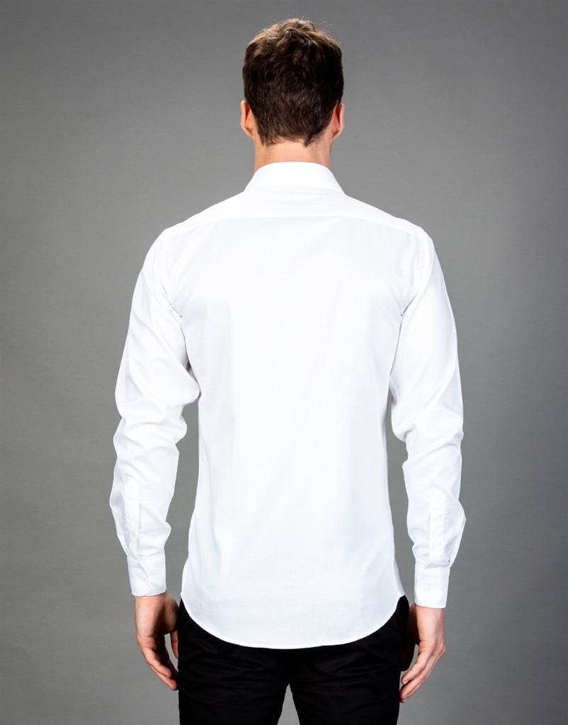 Slim Fit Stainless Plain White Cotton Men Shirt