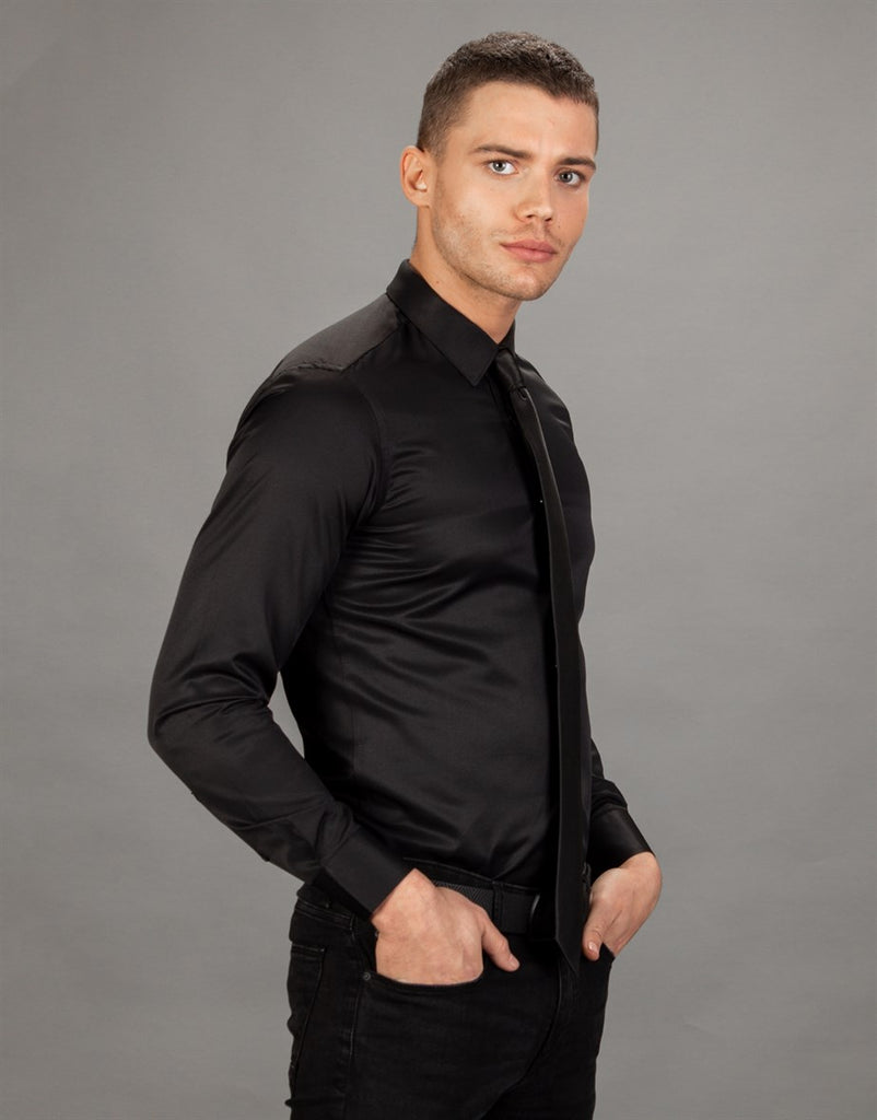 Slim Fit Plain Black Men Shirt