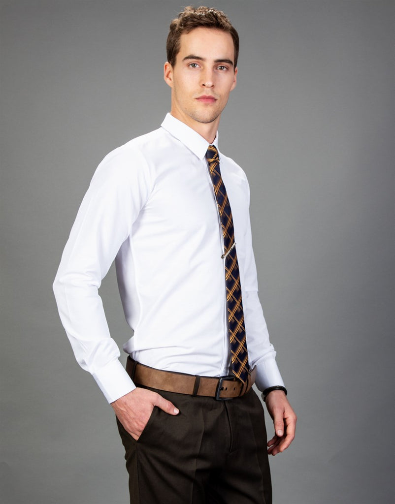 Slim Fit Textured White Men Shirt