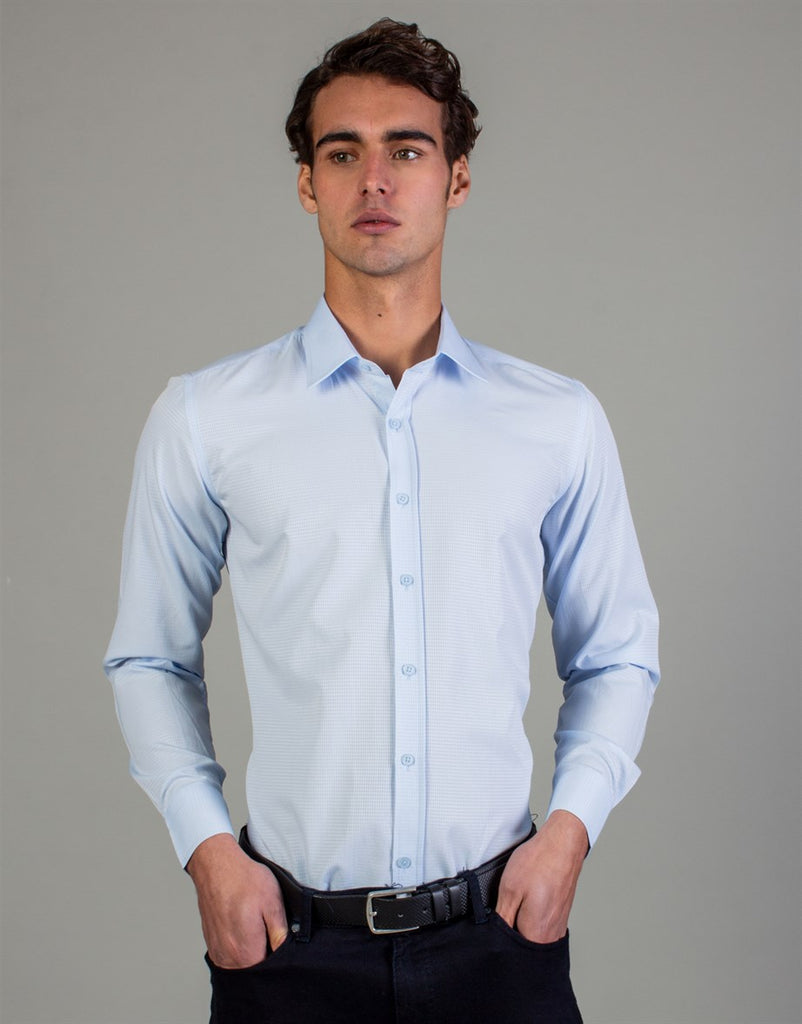 Modern Fit - Light Blue Textured Shirt
