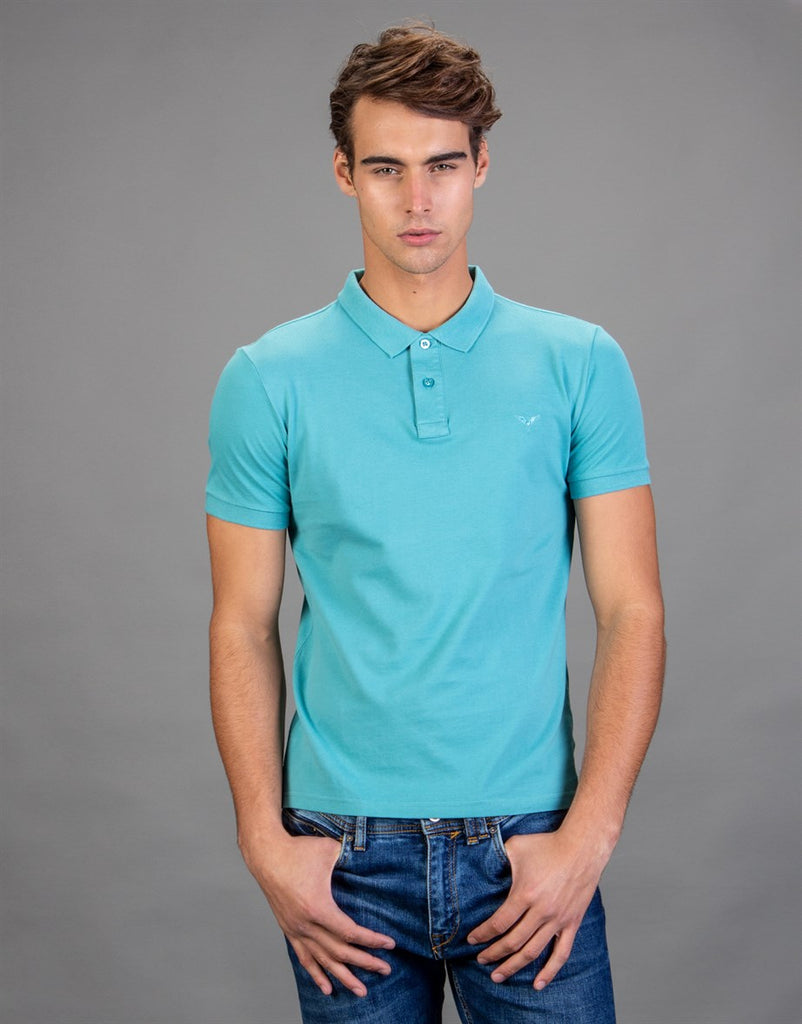 Plain Blue Polo Neck Slim Fit Men T-Shirt