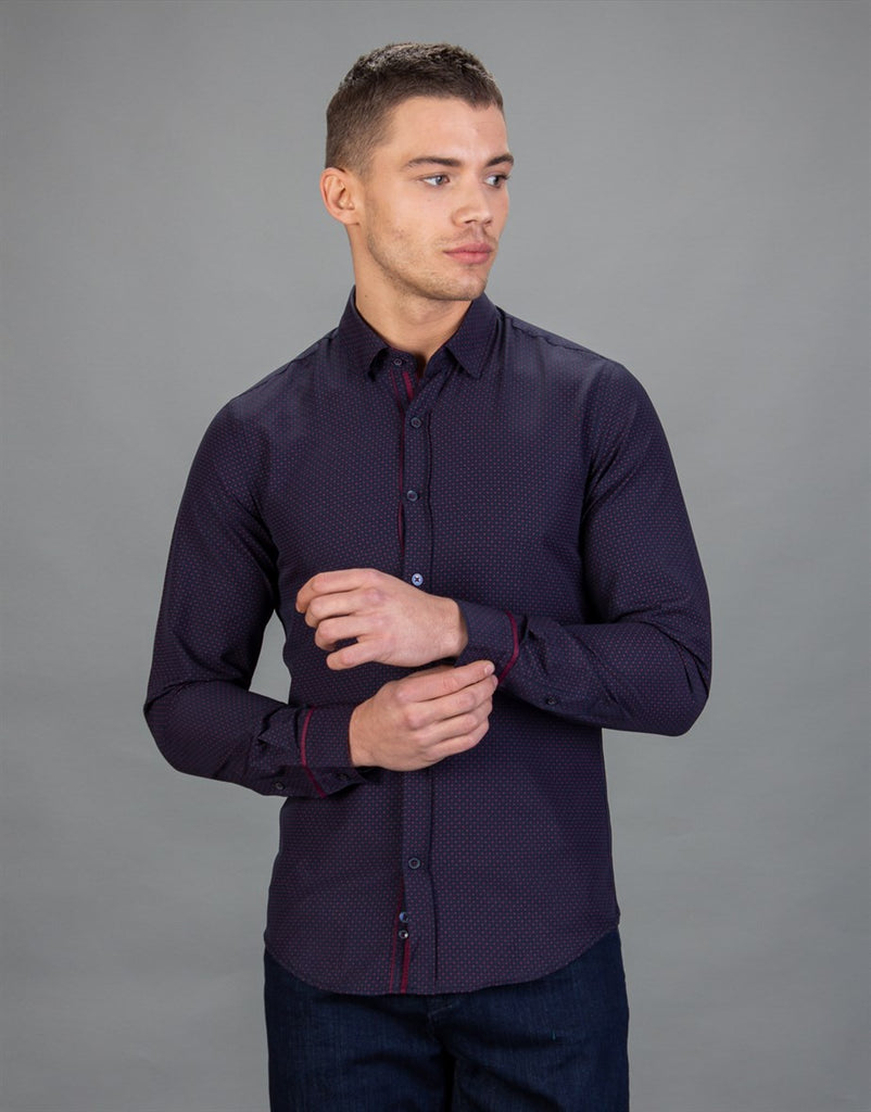 Dark Blue Printed Slim Fit Men Shirt