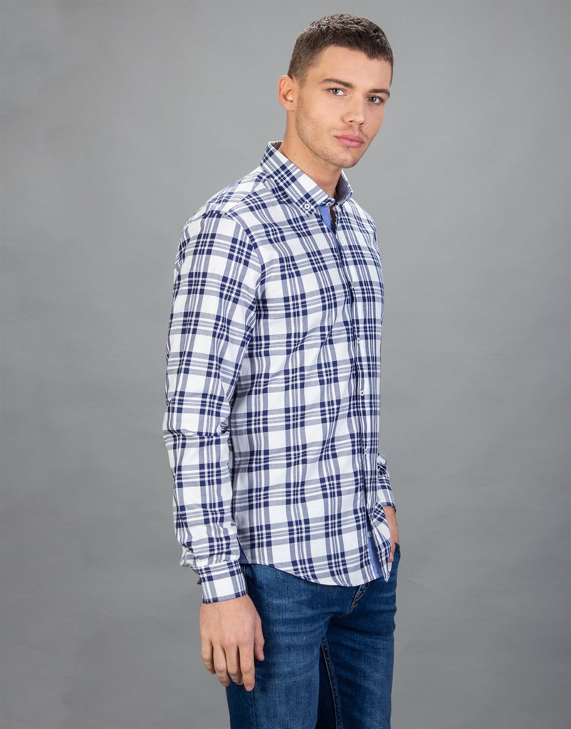 Slim Fit Checked Blue Cotton Men Shirt