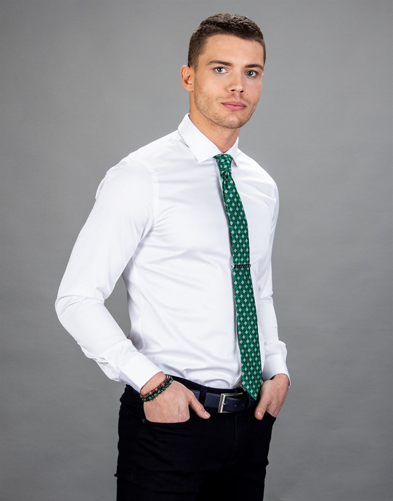 Slim Fit Plain White Men Shirt