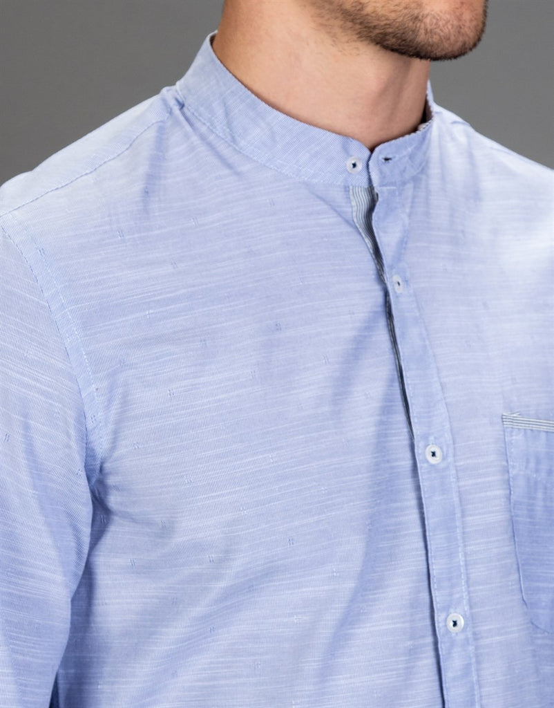 Sky Blue Slim Fit Shirt with Crew Neck