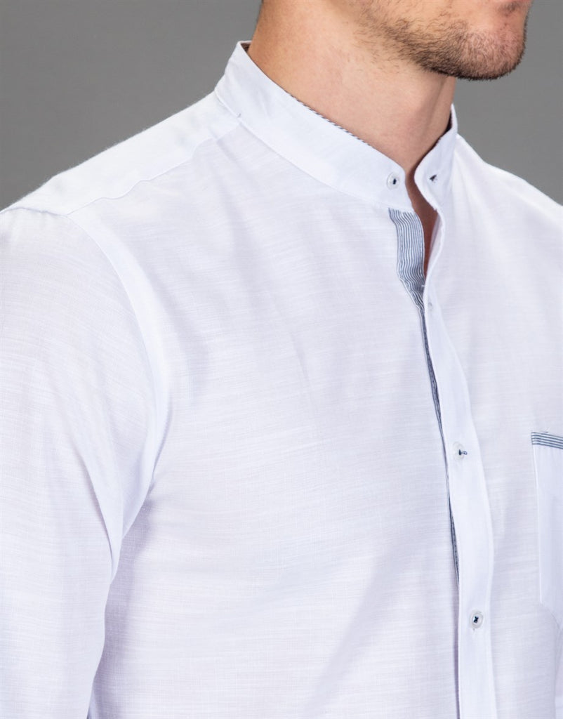 White Slim Fit Shirt with Crew Neck