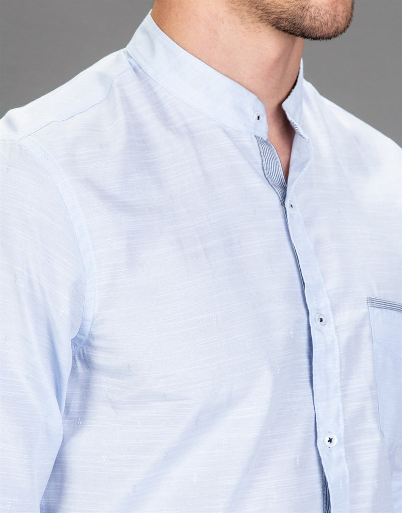 Light Blue Slim Fit Shirt with Crew Neck
