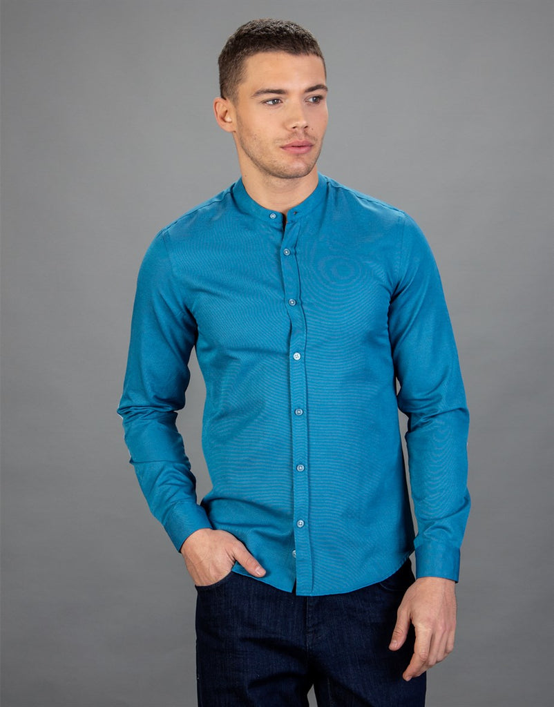 Teal Slim Fit Shirt with Crew Neck