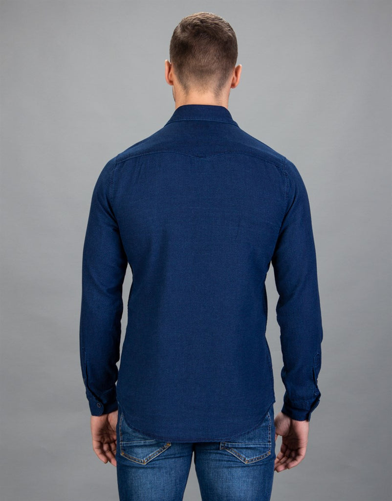 Slim Fit Denim Dark Blue Men Shirt