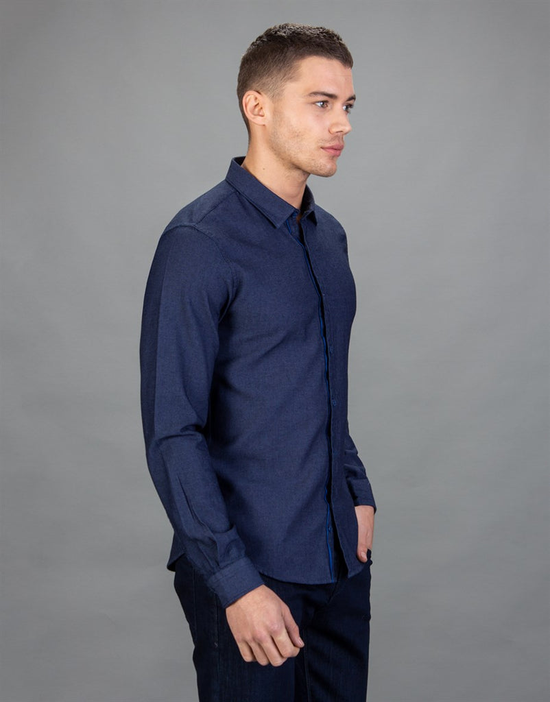 Pattered Denim Slim Fit Men Shirt in Blue