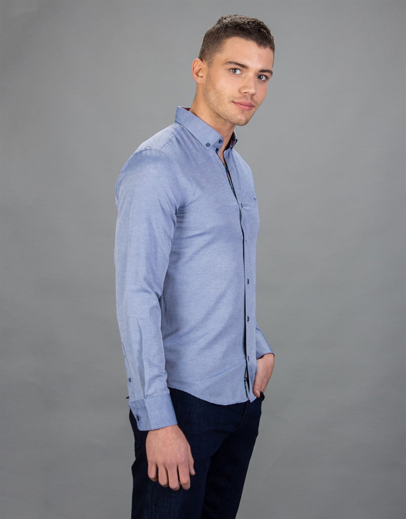 Slim Fit Sport Blue Men Shirt