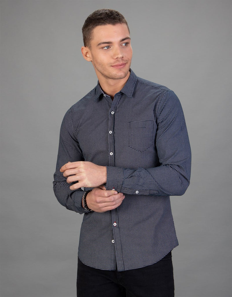 Black Dot Printed Slim Fit Men Shirt