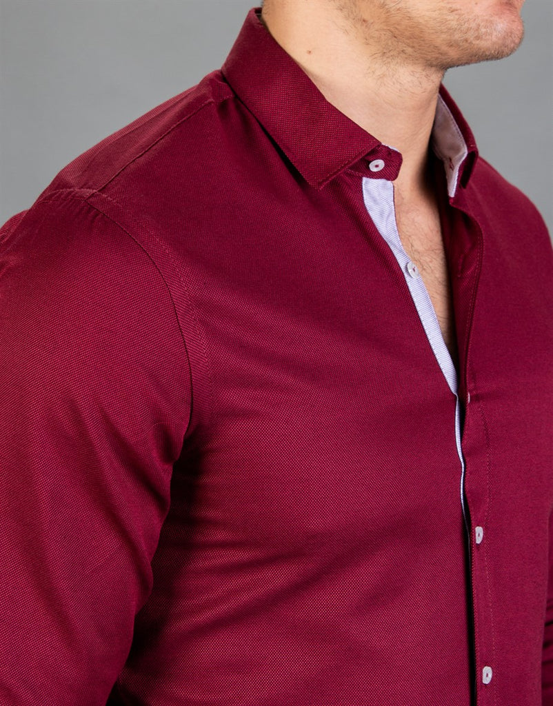 Slim Fit Sport Claret Red Men Shirt