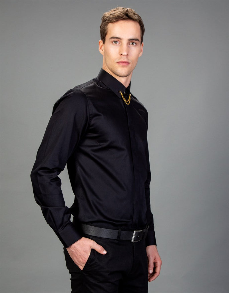 Plain Black Slim Fit Men Shirt
