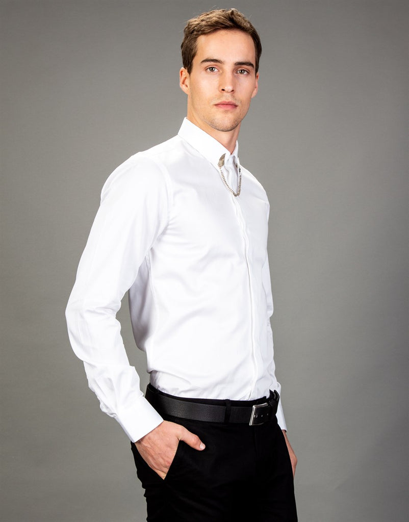 Plain White Slim Fit Men Shirt