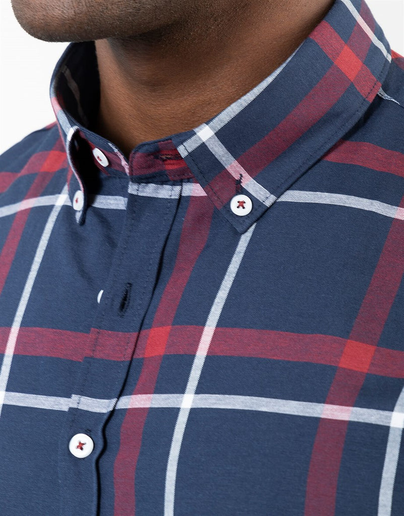 Blue Slim Fit Checked Shirt