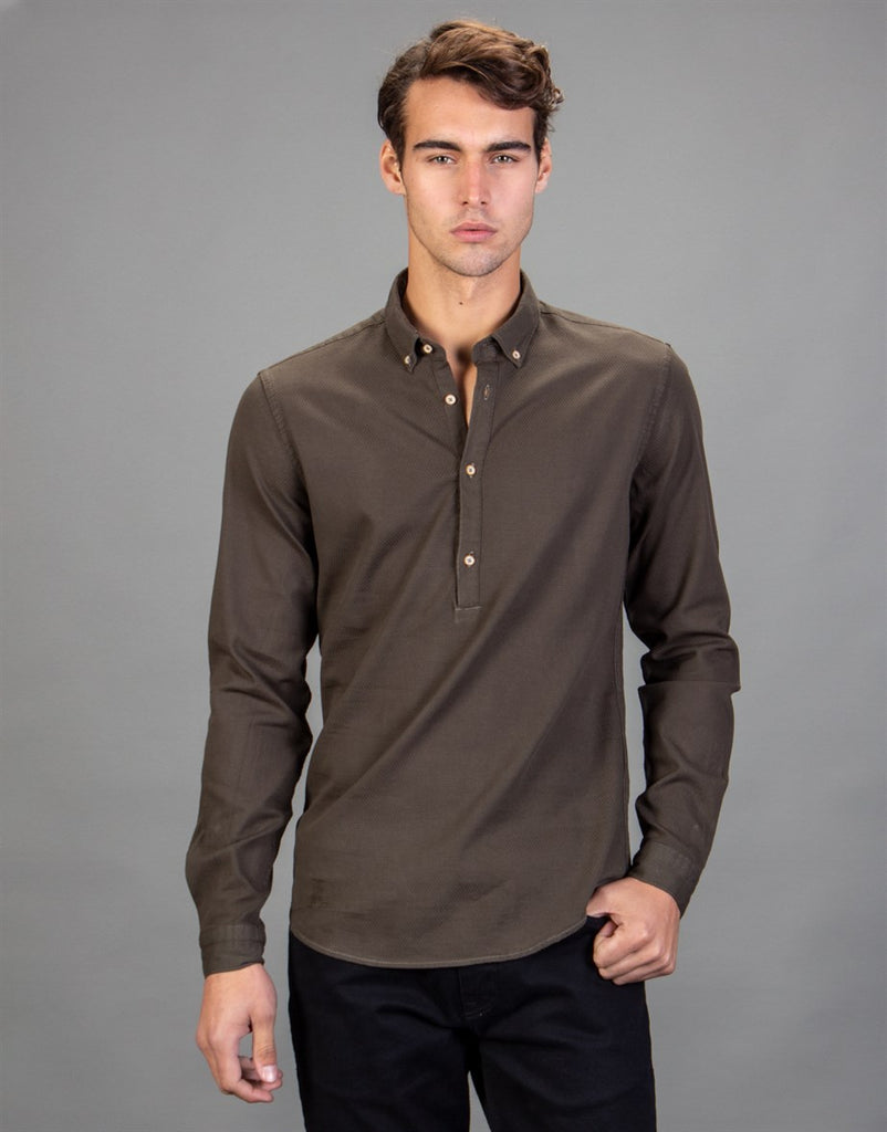 Brown Slim Fit TexturedMen Shirt