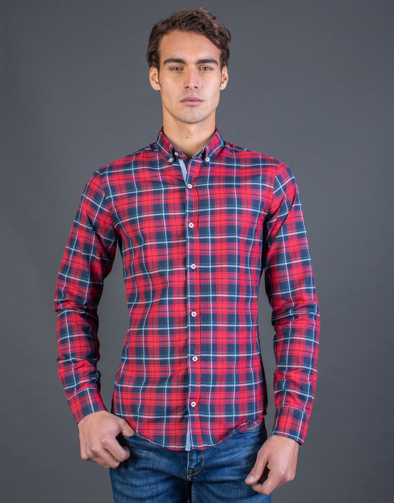 Blue & Red Slim Fit Check Shirt