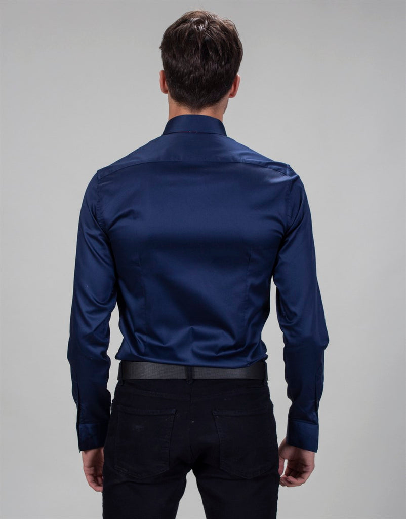 Slim fit - Dark Blue  Cotton Shirt