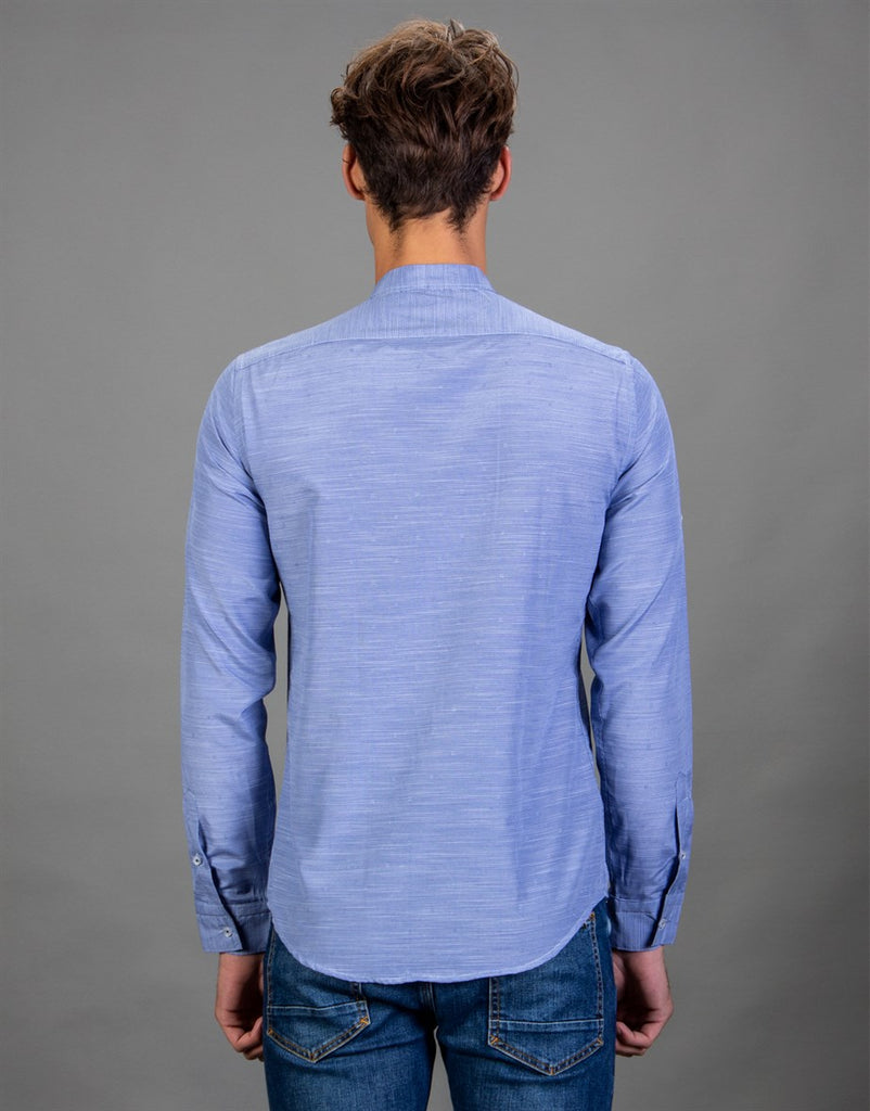 Blue Slim Fit Shirt with Crew Neck