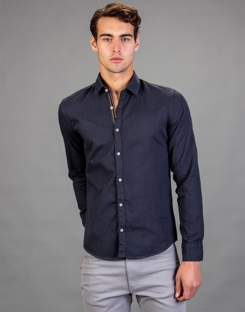 Dark Blue Slim Fit Denim Shirt