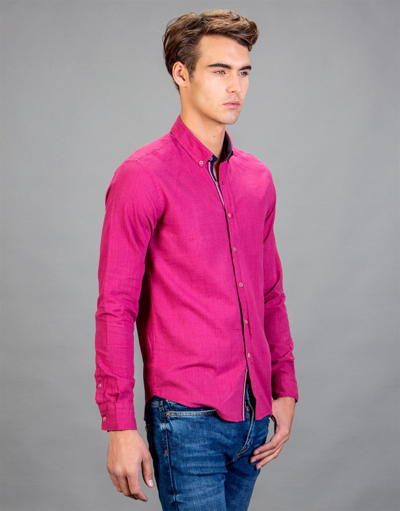 Pink Linen Slim Fit Men Shirt