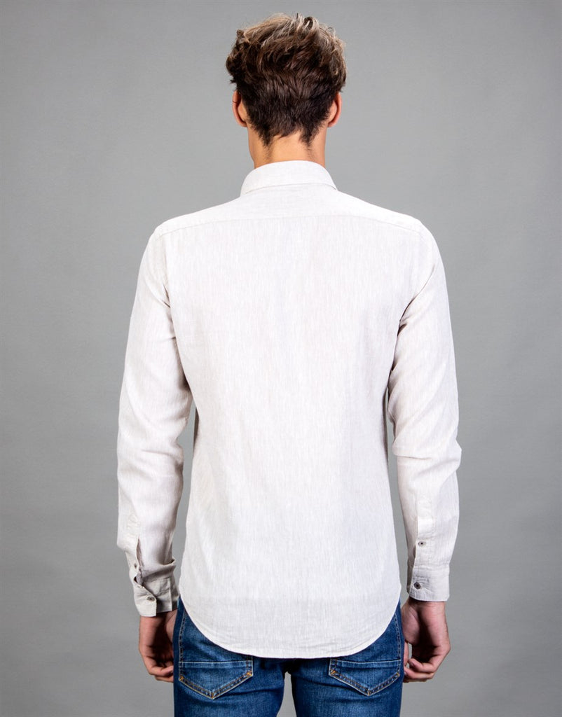 White Linen Slim Fit Men Shirt