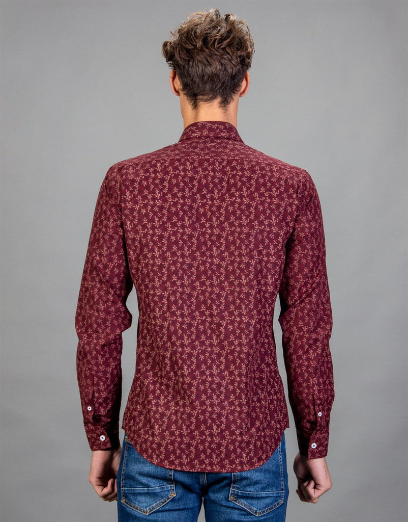 Claret Red Floral Printed Slim Fit Men Shirt