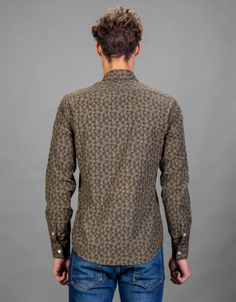 Leaf Printed Brown Slim Fit Fashionable Men Shirt