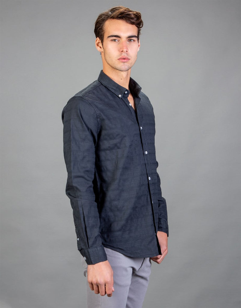 Dark Grey Slim Fit Strips Printed Men Shirt