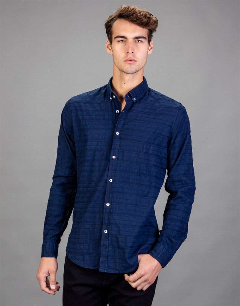 Navy Blue Slim Fit Strips Printed Men Shirt