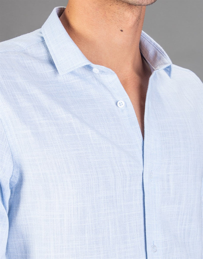 Light Blue Linen Slim Fit Men Shirt