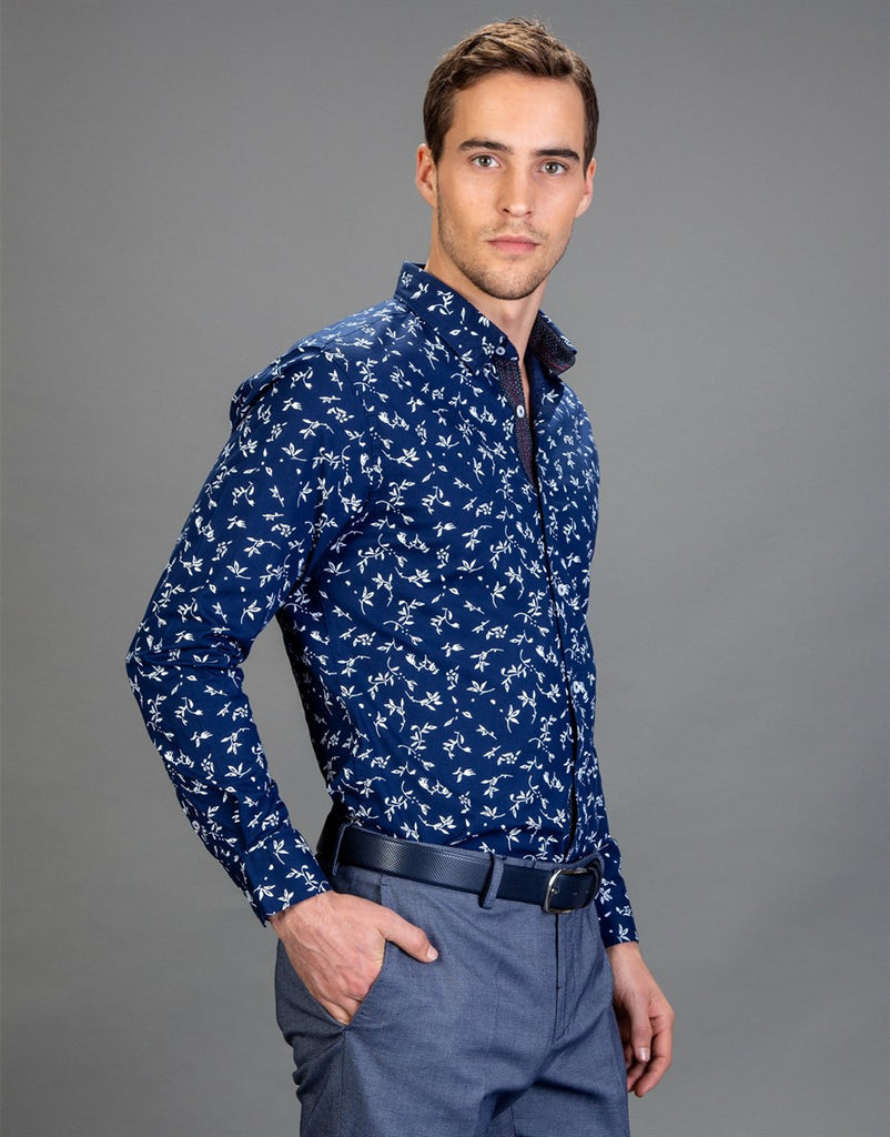 White Flowers printed on Blue Super Slim Fit Men Shirt