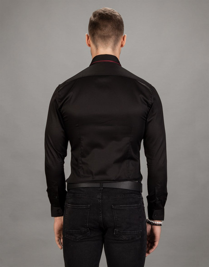 Super Slim Fit Plain Black Men Shirt