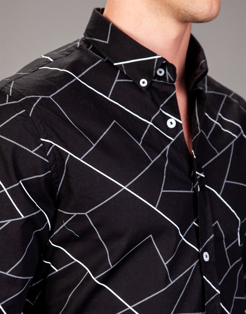 Black Abstract Printed Men Shirt in Super Slim Fit