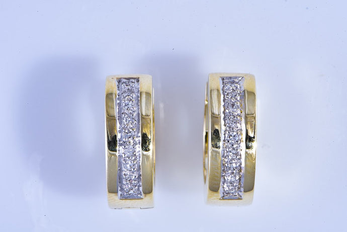 14Kt yellow gold diamond huggie hoop earrings, pierced