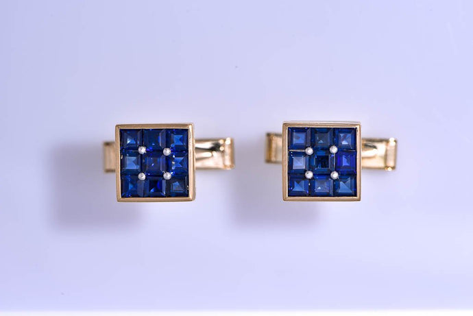 Estate Yellow Gold & Blue Sapphire Cuff Links