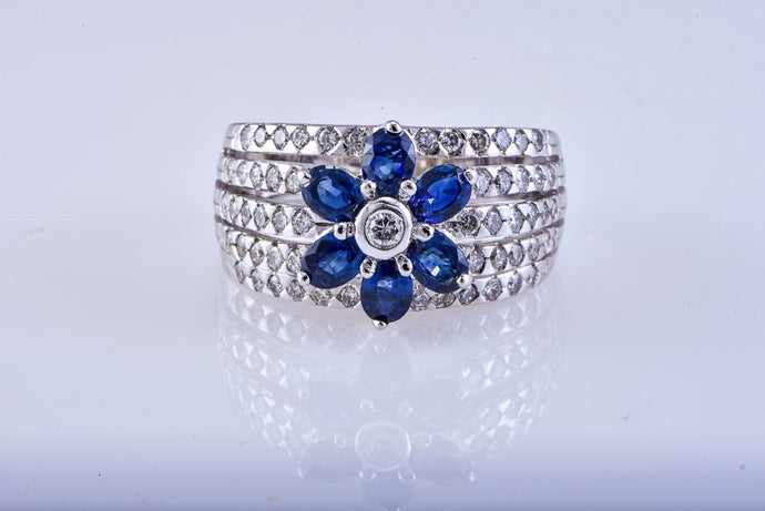 White Gold Diamond & Blue Sapphire Wide Band Ring