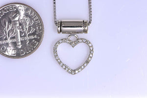 "14Kt white gold diamond heart necklace on 16"" chain"