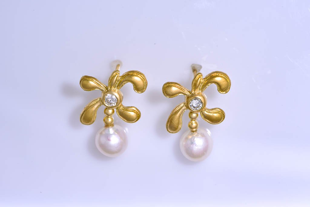 Yellow Gold Diamond & Pearl Dangle Earrings