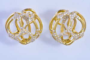 18Kt yellow gold & diamond pierced earrings